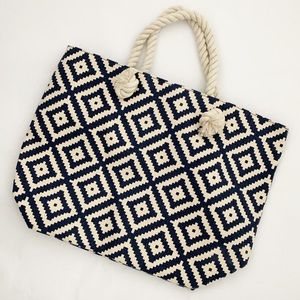 Summer & Rose Navy Diamond Tote EUC